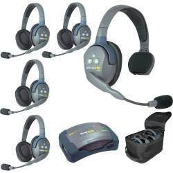 Eartec HUB 5-14 - Комплект UltraLITE & HUB 5 абонентов с гарнитурами 1 Single 4 Double Headsets