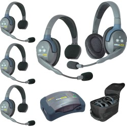 Eartec HUB 5-41 - Комплект UltraLITE & HUB 5 абонентов с гарнитурами 4 Single 1 Double Headsets