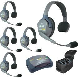 Eartec HUB 5-S - Комплект UltraLITE & HUB 5 абонентов с гарнитурами 5 Single Headsets