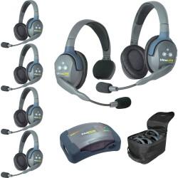 Eartec HUB 6-15 - Комплект UltraLITE & HUB 6 абонентов с гарнитурами 1 Single 5 Double Headsets