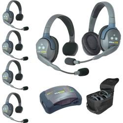 Eartec HUB 6-51 - Комплект UltraLITE & HUB 6 абонентов с гарнитурами 5 Single 1 Double Headsets