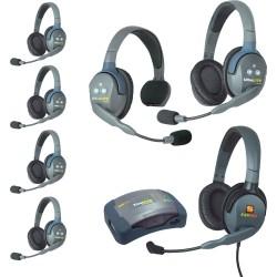 Eartec HUB 7-15MXD - Комплект UltraLITE & HUB 7 абонентов с гарнитурами 1 Single 5 Double 1 Max 4G Double