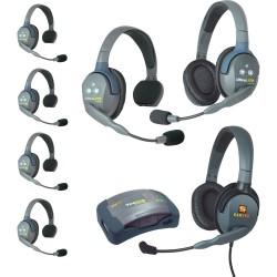 Eartec HUB 7-51MXD - Комплект UltraLITE & HUB 7 абонентов с гарнитурами 5 Single 1 Double 1 Max 4G Double