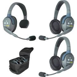 Eartec UltraLITE 3-12 - Комплект UltraLITE 3 абонента с гарнитурами 1 Single 2 Double Headsets