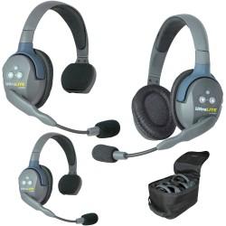 Eartec UltraLITE 3-21 - Комплект UltraLITE 3 абонента с гарнитурами 2 Single 1 Double Headsets